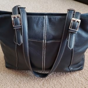 Tignanello Classic Navy Multi-Compartment  Handbag